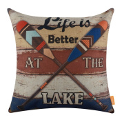 LINKWELL 46cm x 46cm Vintage Colourful Oars Lake Burlap Pillow Cover Throw Cushion Cover