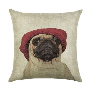 DECORLUTION Beige Pugs with Red Hat Pattern 46cm x 46cm Cotton Linen Square Throw Cushion Cover Pillow Case for Home Sofa Decorative Durable Pillow Covers Cases Pillowcase Standard Size