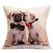 JUNKE Fashion Vintage Cute Dog Sofa Bed Home Decoration Festival Pillow Case Cushion Cover