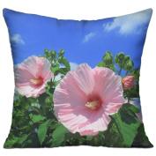 Mallow Flowers Sky Clouds Blue Best Decorative Pillow Covers 46cm X 46cm