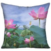 Lotus Green Sky Foliage Unique Throw Throw Pillows For Couch 46cm X 46cm
