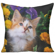 Cat Flowers Face Fluffy Comfort Sofa Pillows 46cm X 46cm