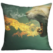 Kitty Fire Flaming Kitten Cat Eyes Cute Grey Comfort Throw Pillows For Couch 46cm X 46cm