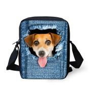 Coloranimal Lovely Pet Black Dog Print Denim Shoulder Bags Girls Small Cross Body Bags