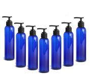 Grand Parfums Cobalt Blue PET Cosmo Plastic Bottle (BPA Free) 240ml w/ Black Lotion Pump Dispenser