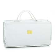 JOY MANGANO Genuine Leather Large Better Beauty Case ~ Classic White
