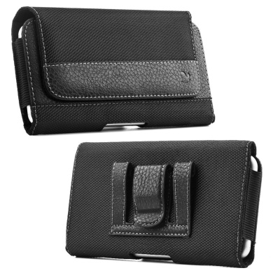 Iphone 6 Plus Holster, Black Nylon Pouch Case with Loops Belt Clip, Card ID Holder Wallet Case Kaede [Screen Guard] Protector for Apple Iphone (6 PLUS) (6s PLUS)