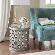 Quatrefoil Mirror Accent Table Arian/Silver