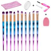 Makeup Brush Set, 10PCS Unicorn Makeup Brushes Eyeshadow Eyeliner Blending Makeup Tools Cosmetic Brushes Kit with Silicone Makeup Sponge, Lash Brush and Brush Washing Board By Beauty Star