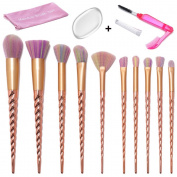 Makeup Brush Set, 10PCS Unicorn Rose Gold Soft Colourful Bristle Makeup Brushes Foundation Blending Eyeshadow Blush Cosmetic Brushes Kit with Silicone Makeup Sponge and Lash Brush By Beauty Star