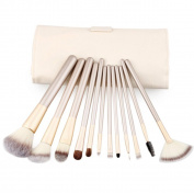 EYX Formula Professional 12 Pcs Champagne Makeup Brush Set Soft Fibre Wool Wooden Handle Makeup Brushes Cosmetic Foundation Blush Powder Brush Makeup Tool with Leather Bag Gift Compact Cosmetic Mirror