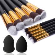 Eleacc Makeup Brushes Premium Cosmetic Makeup Brush Set Synthetic Kabuki Foundation Eyeliner Blush Contour Brushes with 2 Beauty Sponges for Gift