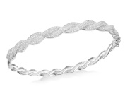 Tuscany Silver Sterling Silver Rhodium Plated Cubic Zirconia Twisted Bangle