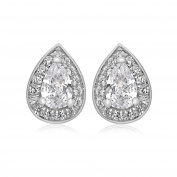 Tuscany Silver Sterling Silver Rhodium Plated White Cubic Zirconia Teardrop Stud Earrings
