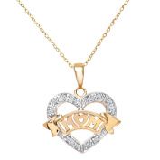 Revoni - 9ct Yellow Gold Diamond Mum Pendant Heart Shape 46cm Chain