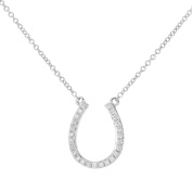 Revoni - 9ct White Gold Diamond Pendant Necklace, Lucky Horse Pendant, 40.6cm