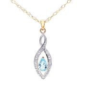 Revoni - 9ct Yellow Gold Blue Topaz and Diamond Pendant with 46cm Chain in Twist Design