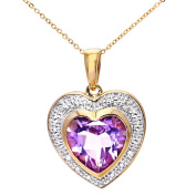 Revoni - 9ct Yellow Gold Amethyst and Diamond Heart Pendant with 46cm Chain