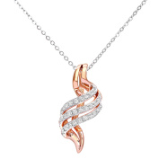 Revoni - 9ct Rose and White Gold Crossover Diamond Pendant and Chain of 46cm