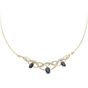 Revoni - 9ct Yellow Gold Diamond and Sapphire Pendant Necklace with 44cm Chain