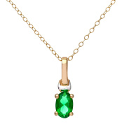 Revoni - 9ct Yellow and White Gold Created Emerald Necklace, 46cm Length Trace Chain