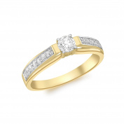 Carissima Gold 9 ct Yellow Gold Small Solitaire Cubic Zirconia and Cubic Zirconia Shoulder Ring - Size L