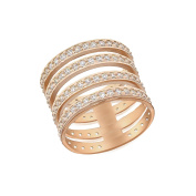 Tuscany Silver Sterling Silver Rose Gold Plated Cubic Zirconia 4 Band Ring