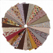 Grannycrafts 25pcs 11.8x7.87 Inches (30x20cm) Top Cotton Printed Craft Fabric Bundle Squares Patchwork Lint Print Cloth Fabric Tissue DIY Sewing Scrapbooking Quilting Brown Series