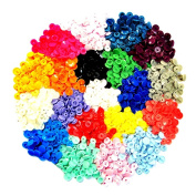 300 Complete Sets KAM Snap Kits Plastic Resin Snap Fastener Buttons KAM T5 Size 20 (1.3cm ) Assorted Rainbow Colours