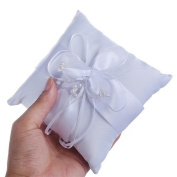 Wedding Ring Pillow, European style White Flower Buds Satin Ribbon Bowknot Ring Pillow Cushion, Artificial Pearl Jewellery Case Ring for Bride Girls Wedding Decoration Supplies