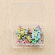 100 Pcs/Box Cute Pastel Mixed Colours Sewing Patchwork Pins Bow Flower Button Head Pins Dressmaking Sewing Tool Needle Arts DIY Crafts Accessories