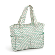 Hobby Gift 'Scribble Chevron - Mint Green & Gold' Matt PVC Craft Bag 12.5 x 39 x 35cm