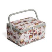 Hobby Gift MRM/195   Hoot Print Med Sewing Basket  18.5x26x15cm