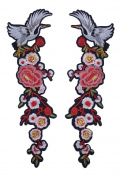 Gracefulvara 1 Pair/Set DIY Embroidery Applique Bird Flowers for Shoes Collar Sew Patch Sticker
