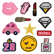 12PCs Mixed Patches For Clothing Iron On Embroidered Appliques DIY Apparel Accessories Patches For Clothing Fabric Badges
