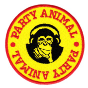 Cool Party Animal Chimp & Headphones T Shirt Patch 8cm - Skateboarding - Skateboarder - Ski - Skiing - Snowboard - Snowboarder - Snowboarding - Beanie - Hat - Jacket - Coat - Rock - DJ - Hip Hop