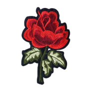 3 Pcs DIY Sewing Red Rose Embroidered Iron on Applique Patches