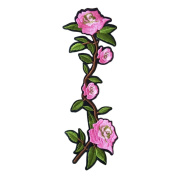 3 Pcs DIY Sewing Pink Camellia Embroidered Iron on Applique Patches