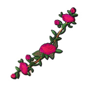 3 Pcs DIY Sewing Red Camellia Embroidered Iron on Applique Patches