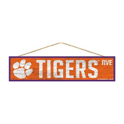 Clemson Tigers Official NCAA Wood Street Wall Sign 4x17 by Wincraft 900111