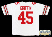 """Archie Gryphon Autographed/Signed Ohio State Buckeyes Custom White Jersey With """"H.T. 70cm Inscription"""