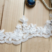 7.6cm Width Ivory Corded Embroidery lace Bridal Chest Lace Trim Lace Trim for Bridal Gown by 1 yard