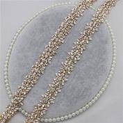 Rhinestone Crystal Rhinestone Trim Applique by the yard Iron on for DIY Headband Headpieces Garter Tiara Embellishment - Gold