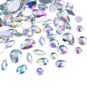Hicarer 108 Pieces AB Clear Gems Acrylic Sew On Rhinestones Faceted Flatback Crystal Buttons for Clothing Dress Decorations