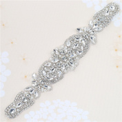 Fashion Rose Gold White Opal Crystal Rhinestones Appliques for Wedding Dress Belts Head Pieces Bags