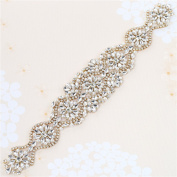 Wedding Sash Belt Applique, Crystal Rhinestone Applique Pearls Dacorations Handcrafted Sparkle Sewn or Hot Fix for Bridal Dresses Women Gown Evening Prom Clothes - Gold