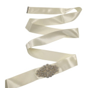Abbie Home Silk Belts with Rhinestone for Bridal Sash Belt for Wedding Party Prom Evening Dresses-Ivory