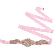Abbie Home Applique Sash for Wedding Dress Bridal Satin Ribbon Belt with Crystal Rhinestone-Pink