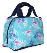 Ever Moda Insulated Lunch Bag, Teal Flamingo