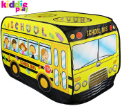 Kiddie Play School Bus Pop Up Play Tent for Kids with Back Door and 2 Top Entrances